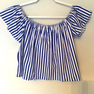 Zara Blue and White Stripped Top Size S NWT